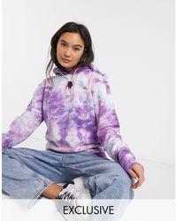Ellesse Hoodie oversize à logo effet tie-dye avec ourlet à cordon - Violet
