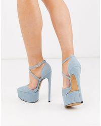 ASOS Perplex Pointed Platform Stiletto Heels - Blue