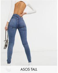 ASOS Asos design tall hourglass - jean skinny taille haute effet sculptant et rehaussant à délavage moyen foncé - Bleu