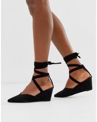 ASOS Saxon Tie Leg Wedges - Black