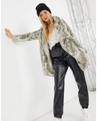 BB Dakota Tie-dye Faux Fur Coat - Grey