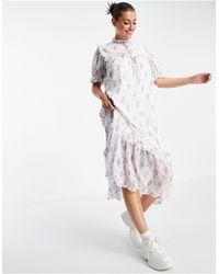 Lost Ink . - Robe mi-longue avec plastron - Imprimé fleuri vintage - Multicolore