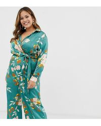 Missguided Wide Leg Jumpsuit In Green Floral