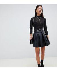 ASOS - Asos Design Petite Full Skater Leather Look Mini Skirt With Self Belt - Lyst