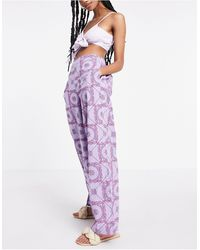 Y.A.S Pantalones violetas con estampado - Morado