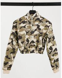Bershka Sweat-shirt court à demi-fermeture éclair - Camouflage - Vert