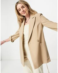 TOPSHOP Twill Slouch Jacket - Brown
