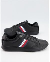 Tommy Hilfiger Черные Кожаные Кроссовки С Логотипом-флагом Сбоку -черный Цвет