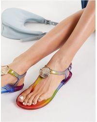 London Rebel Toe Post Jelly Sandals - Multicolour