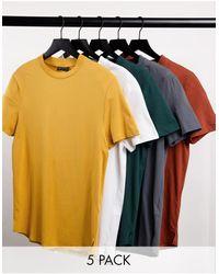ASOS Confezione risparmio da 5 T-Shirt taglio lungo con spacchi laterali - Multicolore