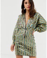 ASOS Stripe Embellished Sequin Batwing Kimono Mini Dress - Green