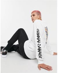 Criminal Damage Dragon Skate Long Sleeve Top - White