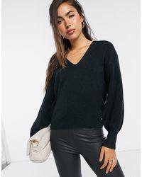 ASOS V Neck Blouson Sleeve Sweater - Black