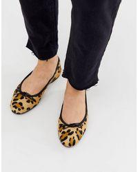 ASOS – Lenor – Flache Lederballerinas mit Zierschleife und Leopardenmuster - Mehrfarbig