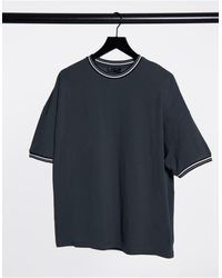 ASOS - Oversized Pique T-shirt With Tipping - Lyst