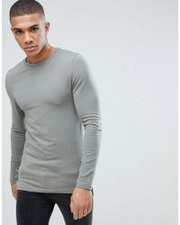 ASOS - Muscle Fit T-shirt With Long Sleeves In Grey - Lyst