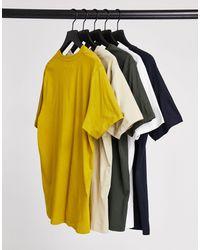 TOPMAN Confezione da cinque T-shirt classiche multicolore - Blu