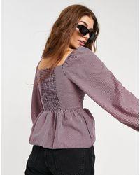 New Look Сиреневая Блузка В Клетку С Баской И Вырезом Сердечком -фиолетовый Цвет - Пурпурный