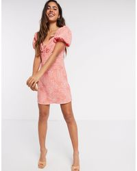 River Island Ruched Tie Printed Mini Tea Dress - Red