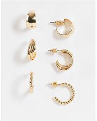 TOPSHOP Набор Из 3 Пар Золотистых Серег-колец С Разной Перекрученной Отделкой -золотистый - Металлик