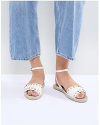 Miss Selfridge Studded Espadrille Sandals - White