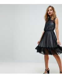 bf2323c484a3 John Zack - High Neck Tulle Mini Skater Dress With Contrast Lining - Lyst