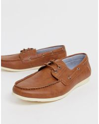 New Look Faux Leather Boat Shoes In Tan - Brown
