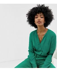 Warehouse Blouse With V Neck In Green