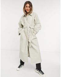 ASOS Collared Faux Leather Trench Coat - Natural