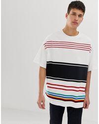 Benetton T-shirt à rayures - Multicolore - Blanc
