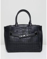 Fiorelli - Alma Black Croc Buckle Front Tote Bag - Lyst