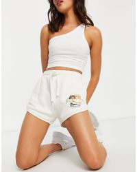 Fiorucci High Waisted Relaxed Sweat Shorts With Angel Graphic - White