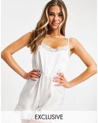 Missguided Белый Пижамный Ромпер Из Атласной Ткани С Кружевной Отделкой От Комплекта Для Невесты