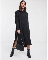 Weekday Gladys Oversized Shirt Dress - Black