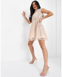 A Star Is Born Embellished Skater Dress - Pink