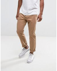 Hollister - Skinny Fit Chinos In Tan - Lyst