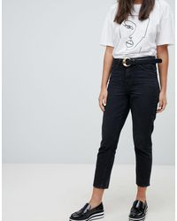 ONLY – e Mom-Jeans mit hoher Taille - Schwarz