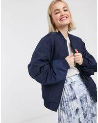 Monki Nylon Bomber Jacket - Blue