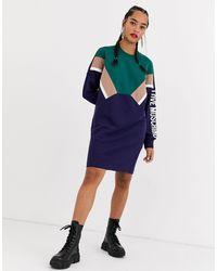 Love Moschino - Платье-свитшот С Логотипом И Шевронной Отделкой На Рукавах -темно-синий - Lyst