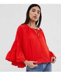 Weekday Bell Sleeve Artists Shirt In Ditsy Print In Red