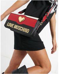 Love Moschino Сумка Через Плечо Sweety Heart, В Цветах Черный / Кремовый / Красный
