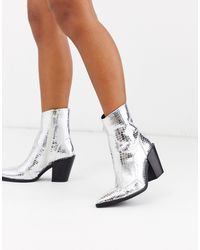 Missguided Cowboy Boot - Metallic