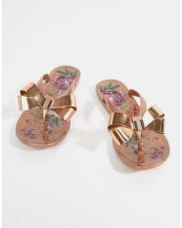 Ted Baker - Rose Gold Floral Bow Detail Flip Flop - Lyst