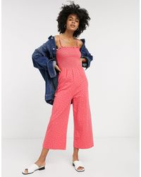 Glamorous Wide Leg Jumpsuit With Shirred Bodice - Pink