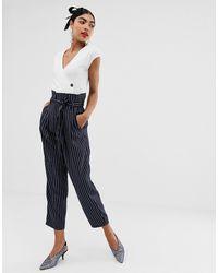 UNIQUE21 Pinstripe Tailored Paperbag Waist Pants - Blue