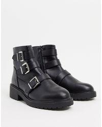 London Rebel Flat Buckle Boots - Black