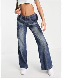 Jaded London Oversized Cargo Denim Jeans - Blue