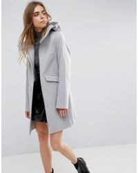 ASOS - Asos Hooded Slim Coat With Zip Front - Lyst