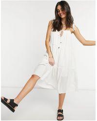 Rhythm Платье Миди Ярусного Кроя Olivia-белый