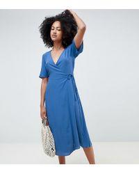 19c8f5a766a7 Warehouse Zip Back Midi Dress - Dark Wash in Blue - Lyst